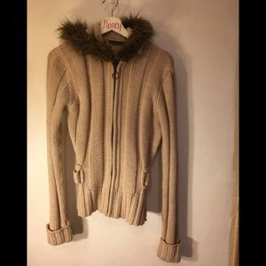 Sweater, Zipped and belted with a faux fur hood